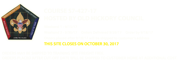 Old Hickory Council - Wood Badge S7-427-17